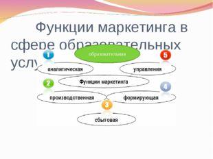 Функции маркетинга в сфере образовательных услуг образовательная
