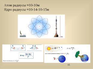Атом радиусы ≈10-10м Ядро радиусы ≈10-14-10-15м