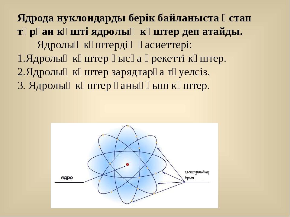 Ядрода нуклондарды берік байланыста ұстап тұрған күшті ядролық күштер деп ата...