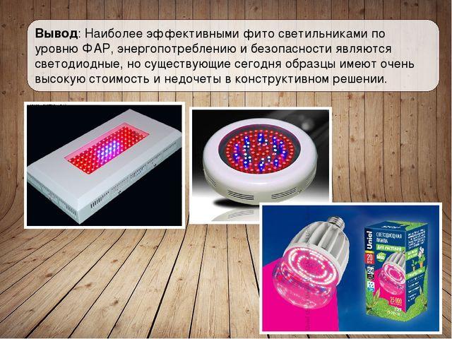 Вывод: Наиболее эффективными фито светильниками по уровню ФАР, энергопотребле...