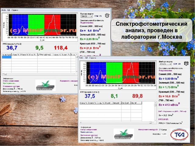 Спектрофотометрический анализ, проведен в лаборатории г.Москва
