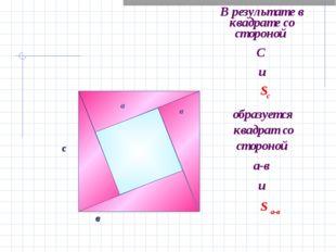В результате в квадрате со стороной С и а с в а в Sс образуется квадрат со ст