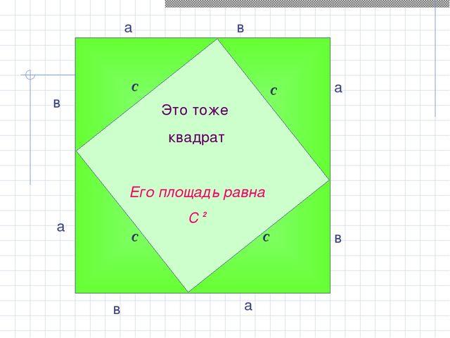Это тоже квадрат Его площадь равна С 2 а в в а в а в а c c c c