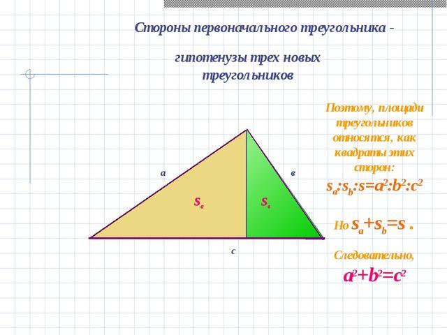 с sв Стороны первоначального треугольника - гипотенузы трех новых треугольник...