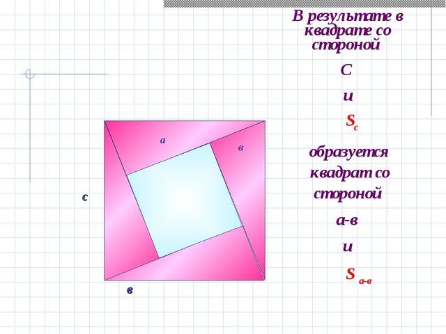 В результате в квадрате со стороной С и а с в а в Sс образуется квадрат со ст...