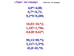 «Адасқан сандар» №946 есеп (0,9 сандары) 4,0*>4,08; 6,7*9,289; 10,831,*96; 0,