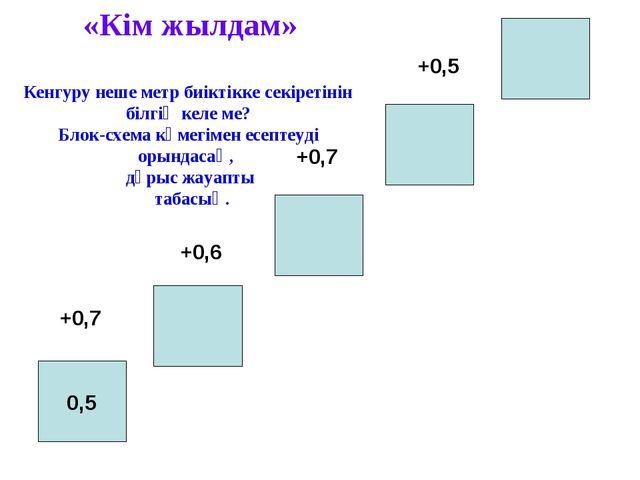 0,5 +0,7 +0,6 +0,7 +0,5 «Кім жылдам» Кенгуру неше метр биіктікке секіретінін...