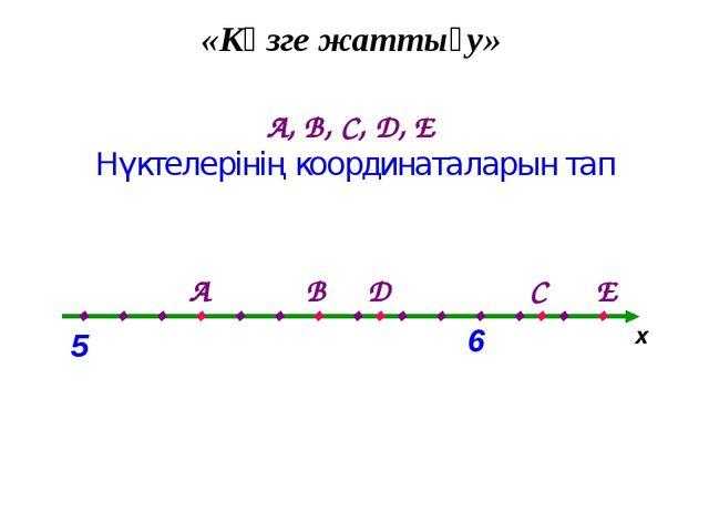 «Көзге жаттығу» А, В, С, D, Е Нүктелерінің координаталарын тап х . . . . . ....