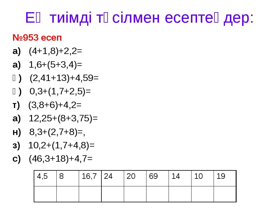 Ең тиімді тәсілмен есептеңдер: №953 есеп а) (4+1,8)+2,2= а) 1,6+(5+3,4)= қ) (...