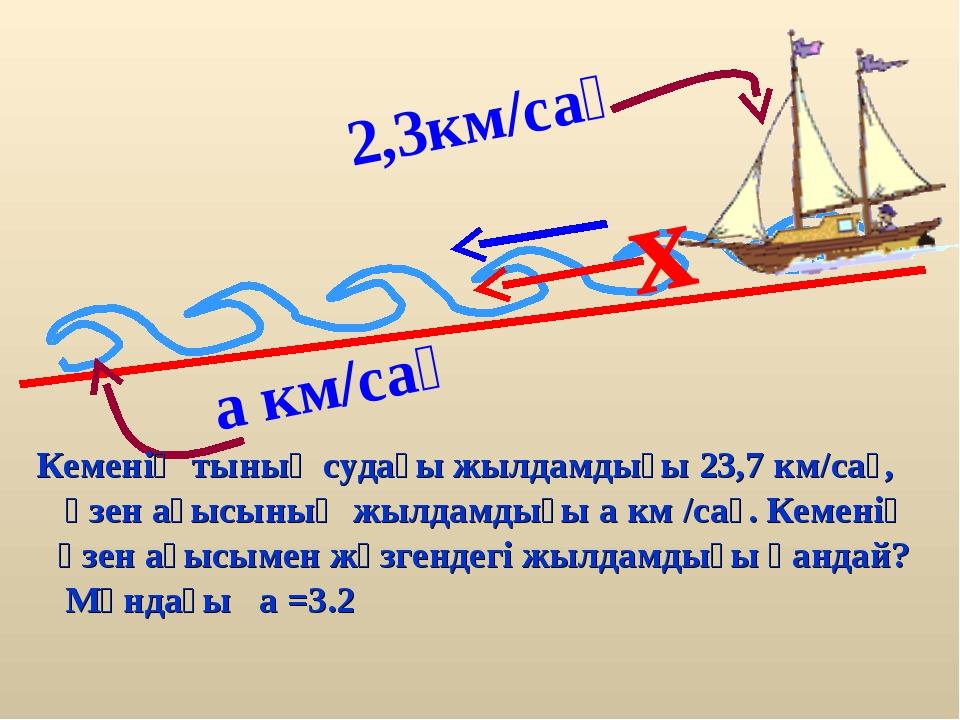 2,3км/сағ x Кеменің тынық судағы жылдамдығы 23,7 км/сағ, өзен ағысының жылдам...