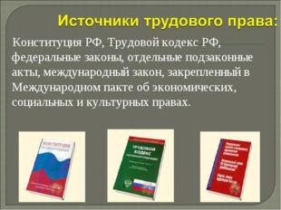 Конституция РФ, Трудовой кодекс РФ, федеральные законы, отдельные подзаконны