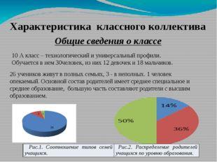 Характеристика классного коллектива Общие сведения о классе 10 А класс – техн