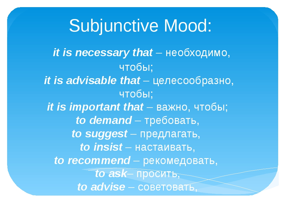 Subjunctive Mood: it is necessary that– необходимо, чтобы; it is advisabl...