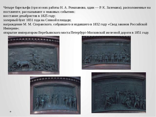 Четыре барельефа (три из них работы Н. А. Ромазанова, один — Р. К. Залемана),...