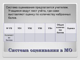 Система оценивания в МО Система оценивания предлагается учителем. Учащиеся ве