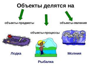 Объекты делятся на Лодка Рыбалка Молния объекты-предметы объекты-процессы объ