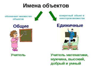 Имена объектов Единичные Общие Учитель Учитель математики, мужчина, высокий,