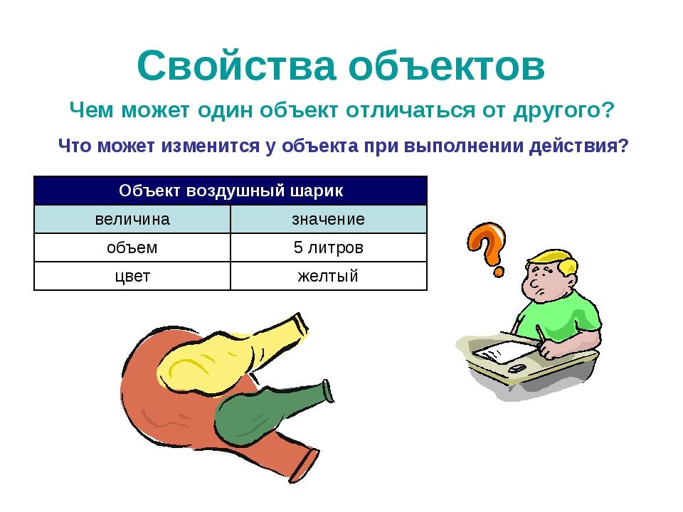 Свойства объектов Чем может один объект отличаться от другого? Что может изме...