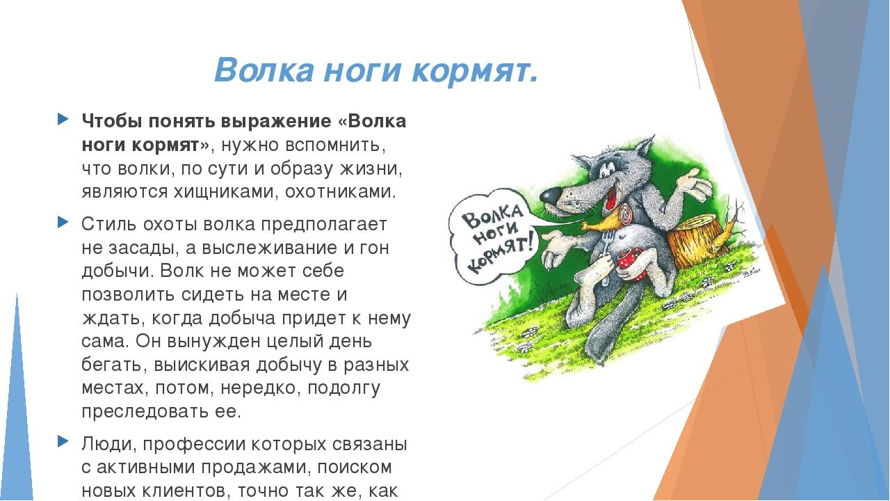Волка ноги кормят. Чтобы понять выражение «Волка ноги кормят», нужно вспомнит...