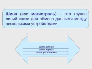 шина данных шина адреса шина управления Шина (или магистраль) – это группа л