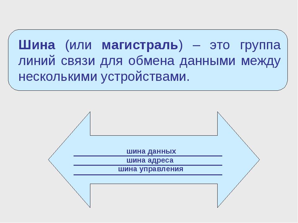 шина данных шина адреса шина управления Шина (или магистраль) – это группа л...
