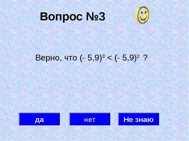 Вопрос №3 да нет Не знаю Верно, что (- 5,9)3 < (- 5,9)2 ?