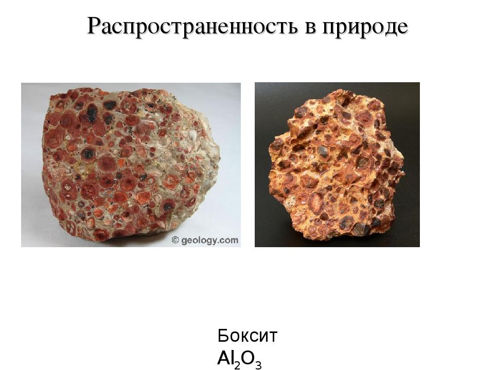 Распространенность в природе Боксит Al2O3