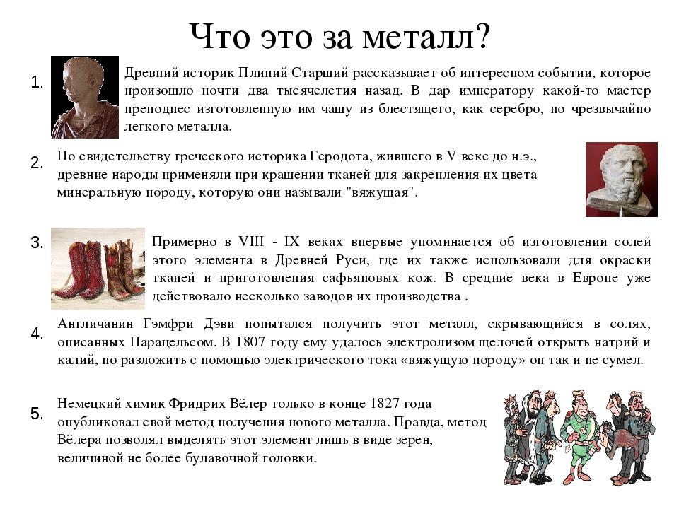 Что это за металл? 1. Древний историк Плиний Старший рассказывает об интересн...