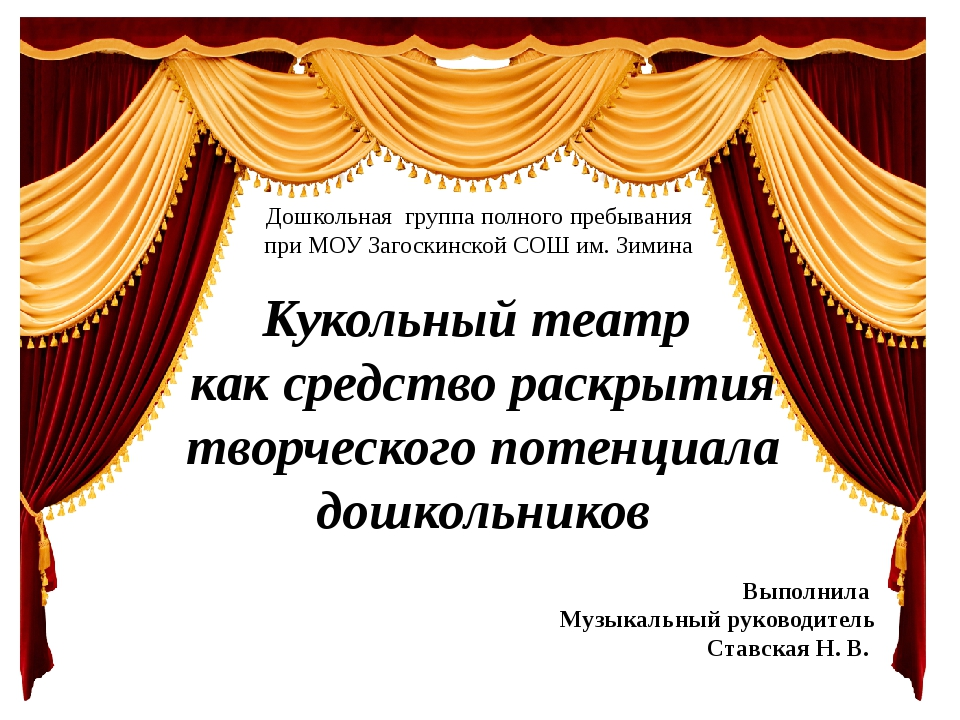 Кукольный театр как средство раскрытия творческого потенциала дошкольников До...