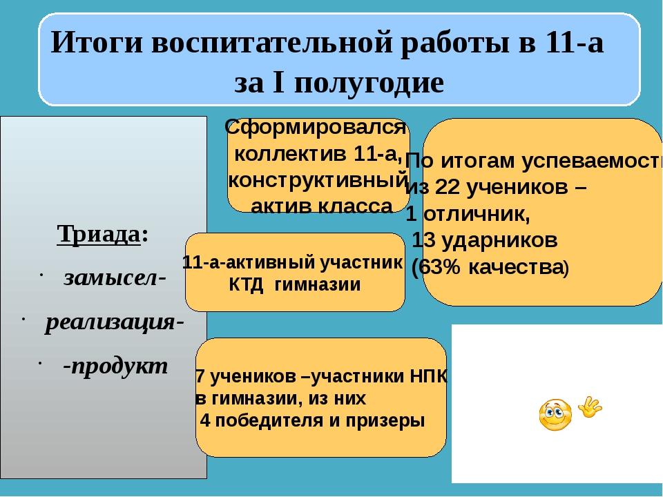 Итоги воспитательной работы в 11-а за I полугодие Триада: замысел- реализаци...