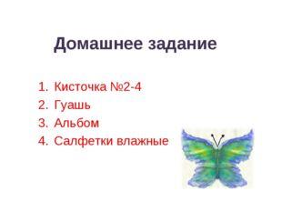 Домашнее задание Кисточка №2-4 Гуашь Альбом Салфетки влажные