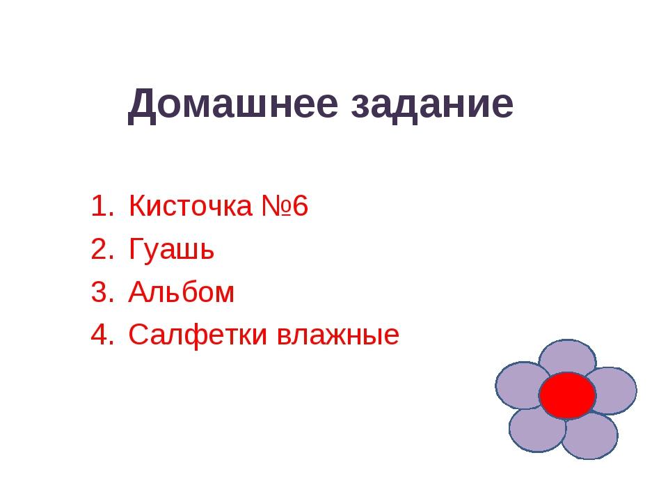 Домашнее задание Кисточка №6 Гуашь Альбом Салфетки влажные