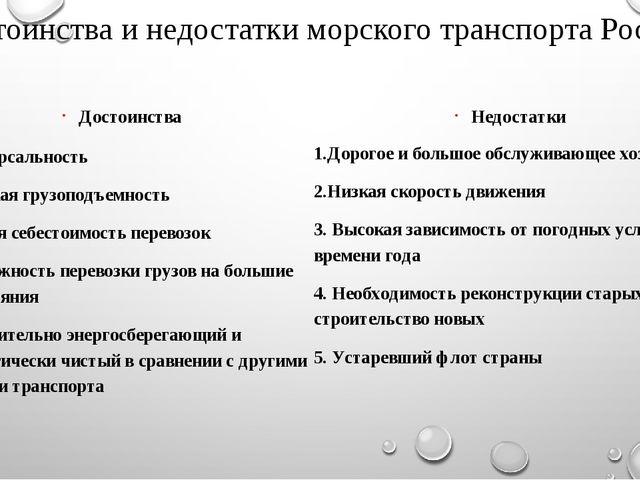 Достоинства и недостатки морского транспорта России Достоинства Универсальнос...