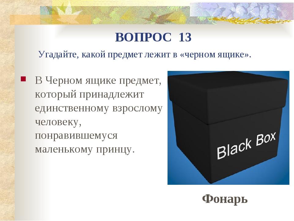 В Черном ящике предмет, который принадлежит единственному взрослому человеку,...