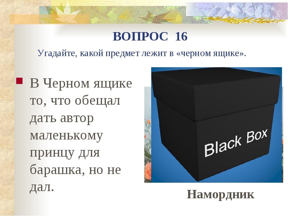 В Черном ящике то, что обещал дать автор маленькому принцу для барашка, но не...