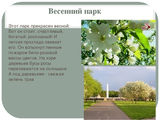 Весенний парк Этот парк прекрасен весной. Вот он стоит, счастливый, богатый,...