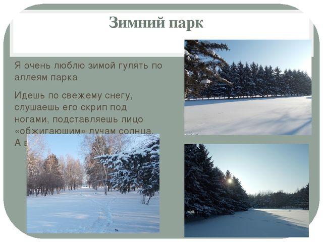 Зимний парк  Я очень люблю зимой гулять по аллеям парка Идешь по свежему сне...