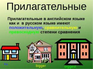 Прилагательные Прилагательные в английском языке как и в русском языке имеют