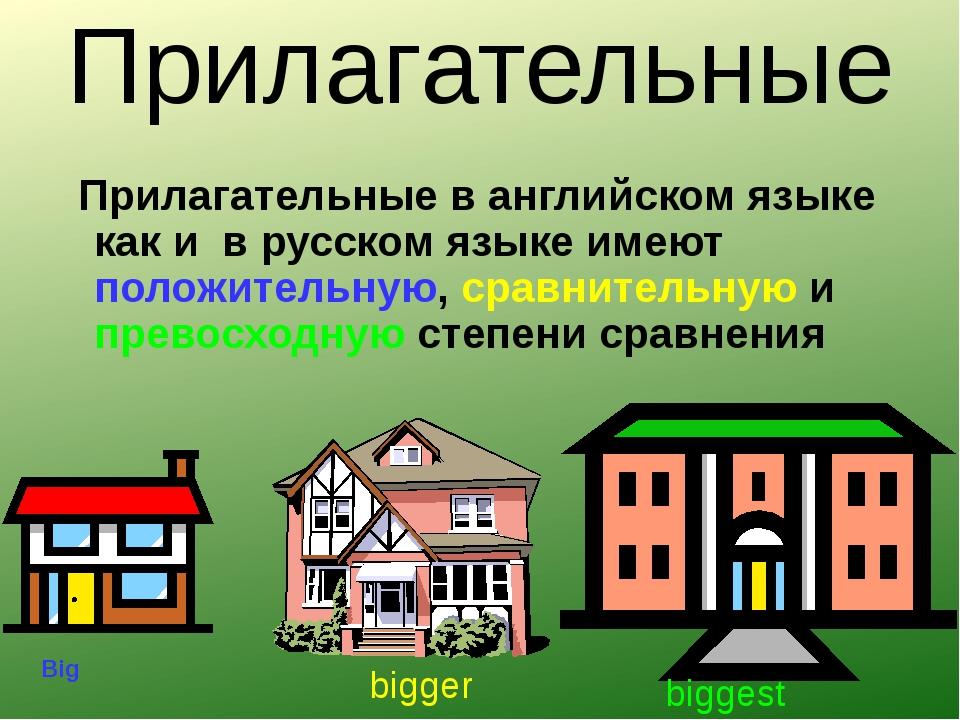 Прилагательные Прилагательные в английском языке как и в русском языке имеют...