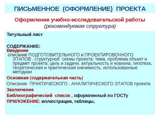 Оформление учебно-исследовательской работы (рекомендуемая структура) Титульны...
