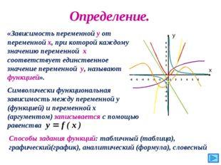 Определение. «Зависимость переменной y от переменной x, при которой каждому