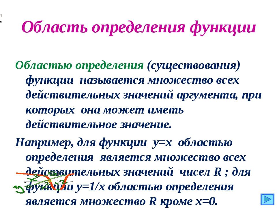 Область определения функции Областью определения (существования) функции назы...