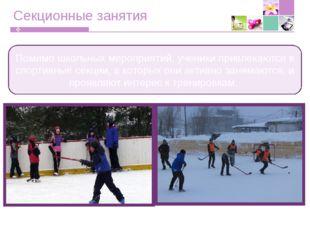 Секционные занятия Помимо школьных мероприятий, ученики привлекаются в спорти