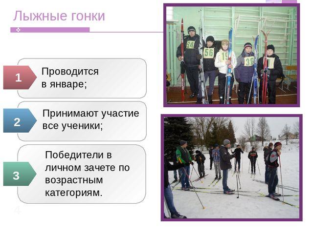 Лыжные гонки Проводится в январе;