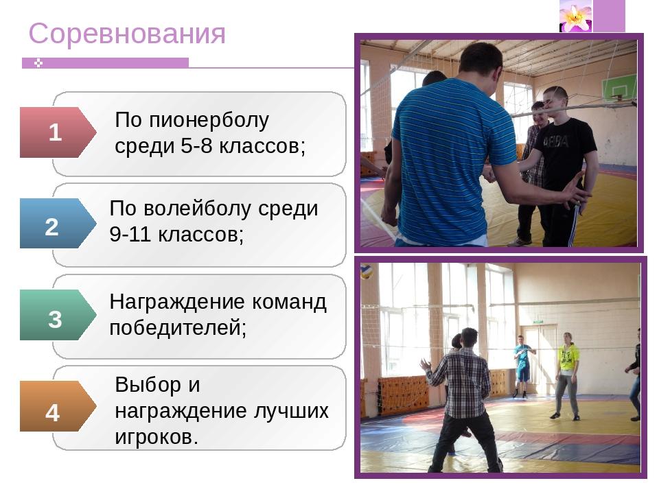 Соревнования По пионерболу среди 5-8 классов;