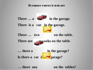 Вставьте глагол is или are There … a in the garage. There is a car in the gar