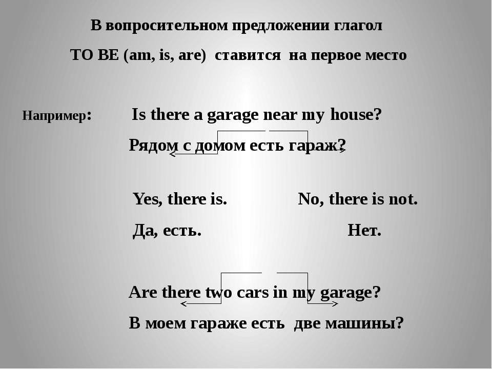 В вопросительном предложении глагол TO BE (am, is, are) ставится на первое ме...