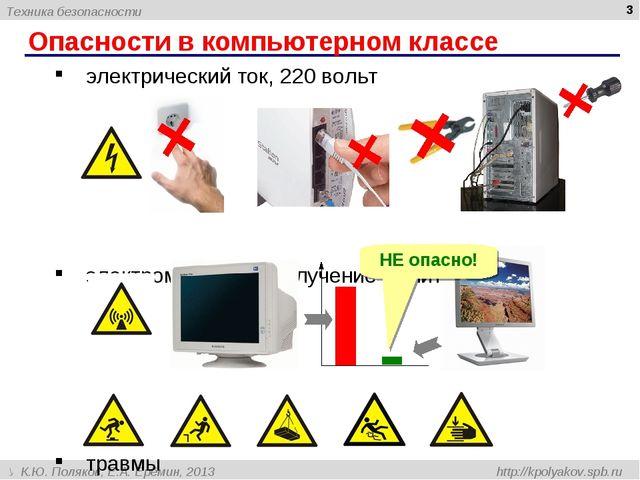 Опасности в компьютерном классе * электрический ток, 220 вольт электромагнитн...