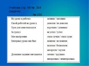 Учебник стр. 98 № 254 (задача) № 255 Домашнее задание: придумать по 2 примера
