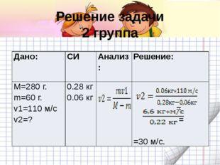 Решение задачи 2 группа Дано: СИ Анализ: Решение: M=280 г. m=60 г. v1=110 м/с